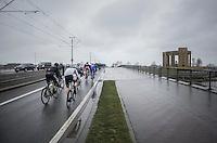 race start in Nieuwpoort (BEL) with peloton passing the WWI war memorial<br /> <br /> 1st Dwars door West-Vlaanderen 2017 (1.1)