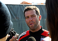 WASHINGTON, DC - NOVEMBER 14, 2012: Ben Olsen of DC United talks to the press during a practice session before the second leg of the Eastern Conference Championship at DC United practice field, in Washington, DC on November 14.