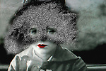 Conceptual image of female with red lips and mask