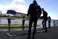 PUTNEY, LONDON, ENGLAND, 05.03.2006, Oxford prepare to boat, Pre 2006 Boat Race Fixtures,.   © Peter Spurrier/Intersport-images.com.OUBC, Bow Robin Esjmond-Frey, No.2 Colin Smith, No.3 Jake Wetzel, No.4 Paul Daniels, No.5 James Schroeder, No.6 Barney Williams, No. 7 Tom Parker, stroke Bastien Ripoll, and cox Nick Brodie,..[Mandatory Credit Peter Spurrier/ Intersport Images] Varsity Boat Race, Rowing Course: River Thames, Championship course, Putney to Mortlake 4.25 Miles Sunrise, Sunsets, Silhouettes