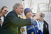 vice prime minister Kris Peeters taking a selfie with race winner Yves Lampaert (BEL/QuickStep Floors) backstage<br /> <br /> 72nd Dwars Door Vlaanderen (1.UWT)<br /> 1day race: Roeselare &rsaquo; Waregem BEL (203.4km)