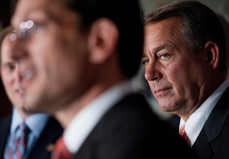 UNITED STATES - OCTOBER 12:  Speaker John Boehner, R-Ohio, right, and House Majority Leader Eric Cantor, R-Va., conduct a news conference at the RNC after a meeting with the House Republican Caucus.  They discussed the failure of President Obama's job bill in the Senate among other matters related to job creation.  (Photo By Tom Williams/Roll Call)