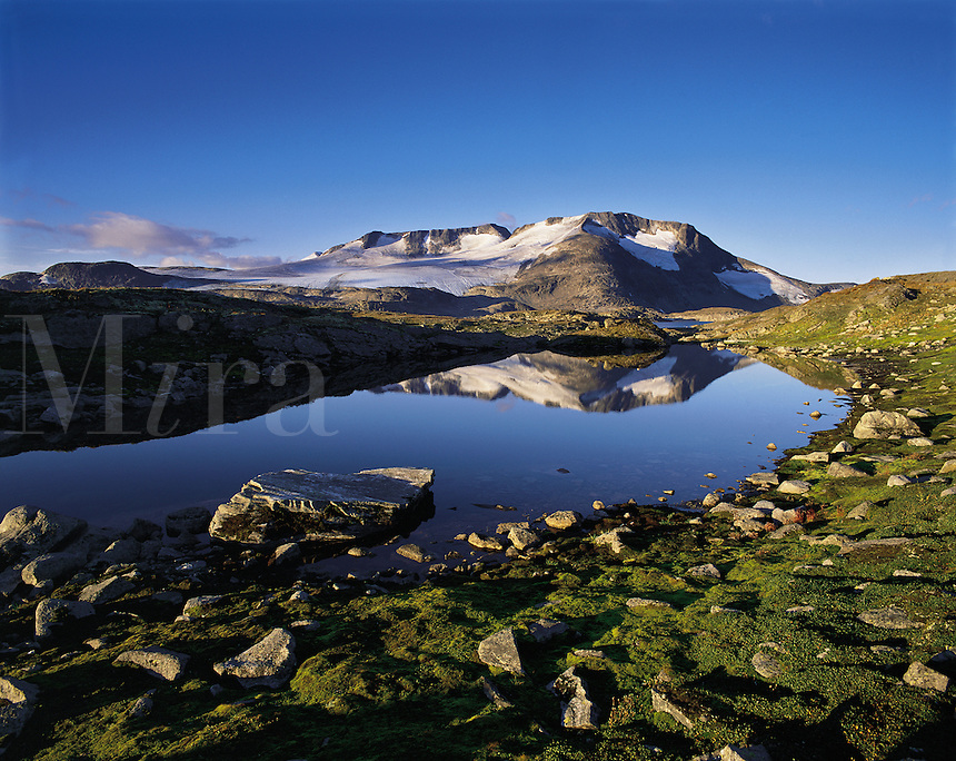 The Fannaraken peaks and glaciers are reflected in a still pond of melt-water, Jotunheim National Park, Norwa