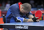Paralympics London 2012 - ParalympicsGB - Table Tennis..Paul Davis celebrates winning a Bronze Medal..Men's Singles - Class 1 Bronze Medal Match Paul Davies GBR vs Lee Chang Ho (KOR) held at the Excel Centre on the 3rd September 2012 at the Paralympic Games in London. Photo: Richard Washbrooke/ParalympicsGB