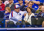 2 April 2016: Montreal Mayor Denis Coderre and his wife Chantale Renaud enjoy a pre-season exhibition series between the Blue Jays and the Boston Red Sox at Olympic Stadium in Montreal, Quebec, Canada. The Red Sox defeated the Blue Jays 7-4 in the second of two MLB weekend games, which saw a two-game series attendance of 106,102 at the former home on the Montreal Expos. Mandatory Credit: Ed Wolfstein Photo *** RAW (NEF) Image File Available ***