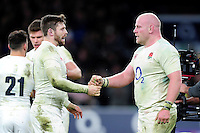 Elliot Daly and Dan Cole of England celebrate the win at the final whistle. RBS Six Nations match between England and France on February 4, 2017 at Twickenham Stadium in London, England. Photo by: Patrick Khachfe / Onside Images