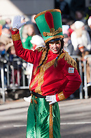 NEW YORK - NOVEMBER 24:  A toy soldier on stilts performs during the annual Macy's Thanksgiving Day Parade on Thursday, November 24, 2011.