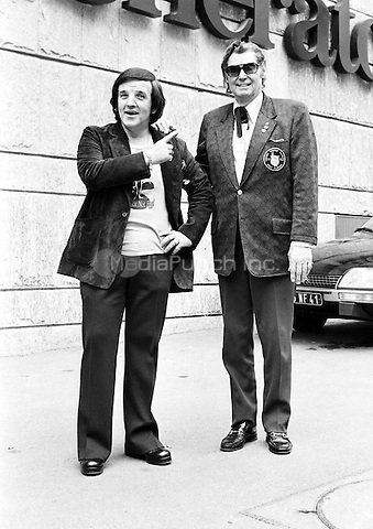 Alan Freeman and Johnny Weissmuller pictured in 1973. Credit: Ian Dickson/MediaPunch