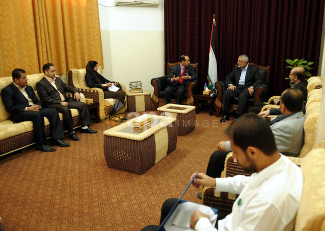 Palestinian prime minister in Gaza Strip, Ismail Haniya meets with the Egyptian media delegation at his office in Gaza city on Oct. 12,2011. Photo by Ahmed Shaat