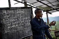 General Laurent Nkunda gives doctrine training to CNDP (Congrès National pour la Défense du Peuple) recruits at his hilltop base in Kilolirwe, North Kivu, DRC, on Sunday, March. 9, 2008 .The renegade general claims to be defending the rights of Tutsis in North Kivu, where much of the fighting has been centered.