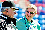 8 March 2010: Newspaper columnist, author, and Pulitzer Prize-winner George Will chats with former Florida Marlins Manager Jack McKeon prior to a Spring Training game against the Washington Nationals at Space Coast Stadium in Viera, Florida. The Marlins defeated the Nationals 12-2 in Grapefruit League action. Mandatory Credit: Ed Wolfstein Photo
