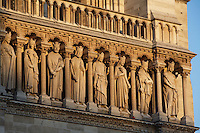 The Kings? Gallery, row of 28 statues representing 28 generations of kings of Judah, restored by Viollet-le-Duc with the help of Geoffroi-Dechaume?s workshop in the 19th century, West façade, Notre Dame de Paris, 1163 ? 1345, initiated by the bishop Maurice de Sully, Ile de la Cité, Paris, France. Picture by Manuel Cohen