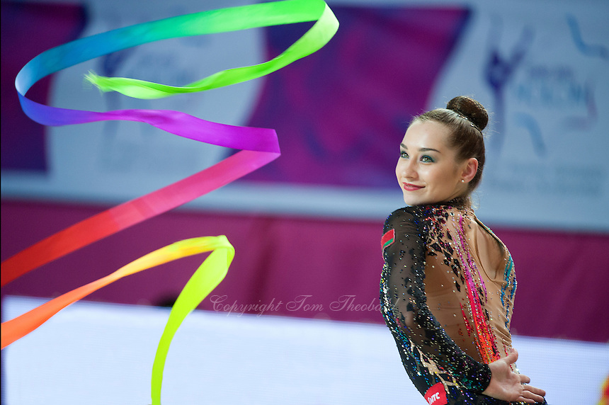 KATSIARYNA HALKINA of Belarus performs with ribbon at 2016 European Championships at Holon, Israel on June 18, 2016.