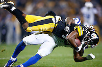 Markus Wheaton #11 of the Pittsburgh Steelers is tackled by Mike Adams #29 of the Indianapolis Colts after catching a pass in the first half during the game at Heinz Field on December 6, 2015 in Pittsburgh, Pennsylvania. (Photo by Jared Wickerham/DKPittsburghSports)
