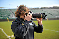 Nick Auterac of Bath Rugby takes a photo from the sidelines. Bath Rugby Captain's Run on February 19, 2016 at the Recreation Ground in Bath, England. Photo by: Patrick Khachfe / Onside Images