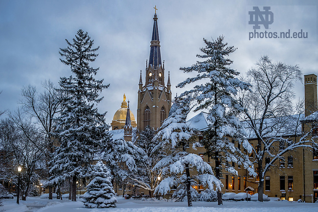 Feb. 2, 2015; Early morning after a snowfall. (Photo by Matt Cashore/University of Notre Dame)
