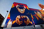 Shepard Fairey mural..Lance Armstrong along with Nike Sportswear and the LAF, Lance Armstrong Foundation, launched the Stages art project in Hollywood. Lance Armstrong and over 700 hundred cyclist rode down the Sunset blvd to the Montalban Theatre. The Stages Art event will fund a global fight against cancer and celebrate Lance's return to the bike racing. The art pieces will follow the Tour de France..Artist Shepard Fairey created a 3 piece mural of Lance Armstrong, which was showcased on the side of the Montablan Theatre.