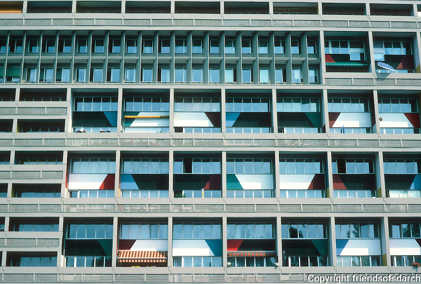 Le Corbusier: Unite D'Habitation, Berlin 1956,1957/58. Detail of windows.