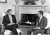 United States President Ronald Reagan meets President Hosni Mubarak of Egypt in the Oval Office of the White House in Washington, D.C. on September 30, 1983..Credit: Howard L. Sachs / CNP