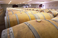 Oak barrel aging and fermentation cellar. Chateau Saint Christoly, Medoc, Bordeaux, France
