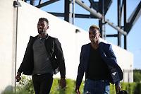 San Jose, CA - Friday April 14, 2017: Shaun Francis, Cordell Cato  prior to a Major League Soccer (MLS) match between the San Jose Earthquakes and FC Dallas at Avaya Stadium.