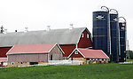 A collection of Barns that still can be seen while traveling the countryside in  the beautiful State of Wisconsin.<br />  	Barn and three silo's Dean Lane and Hwy 60, New Glarus. Green County.