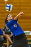 1 November 2015: Yeshiva University Maccabee Setter and Defensive Specialist Emily Rohan, a Senior from Dallas, TX, bumps one against the SUNY College at Old Westbury Panthers at SUNY Old Westbury in Old Westbury, NY. The Panthers edged out the Maccabees 3-2 in NCAA women's volleyball, Skyline Conference play. Mandatory Credit: Ed Wolfstein Photo *** RAW (NEF) Image File Available ***