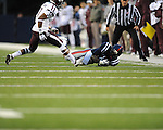 Ole Miss wide receiver Vince Sanders (10) makes a catch vs. Texas A&amp;M defensive back Tramain Jacobs (7) in Oxford, Miss. on Saturday, October 6, 2012. Texas A&amp;M won 30-27...