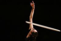 Anna Bessonova of Ukraine trains with hoop before 2007 Thiais Grand Prix near Paris, France on March 22, 2007.