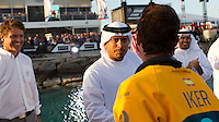UAE. 4th January 2012. Volvo Ocean Race, Leg 2, arrival into Abu Dhabi. Arrivals ceremony. Highness Sheikh Sultan Bin Tahnoon Al Nahyan, Chairman of Abu Dhabi Tourism Authority greets Iker Martinez skipper of Team Telefonica.