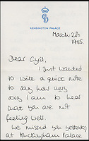 BNPS.co.uk (01202 558833)<br /> Pic: Cheffins/BNPS<br /> <br /> A letter from Diana to Cyril dated March 20, 1985 in which she wishing him a speedy recovery from his illness.<br /> <br /> Heartwarming unseen letters from Princess Diana in which she speaks of Prince William's love for his younger brother and Prince Harry's rebellious side have emerged for auction.<br /> <br /> In the letters to the late Cyril Dickman, who served as a steward at Buckingham Palace for more than 50 years, she spoke of how William 'could not stop kissing' Harry after he was born in September 1984.<br /> <br /> One particularly touching letter to Mr Dickman, dated March 2, 1985, reads: &quot;William adores his little brother and spends the entire time swamping Harry with an endless supply of hugs and kisses, hardly letting the parents near!&quot; <br /> <br /> The letters will go under the hammer at Cheffins auctioneers on January 5.