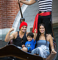 Antonio Sabàto Jr. seen with his family on a gondola at The Venetian in Las Vegas