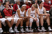 STANFORD, CA - FEBRUARY 1:  Michelle Harrison, Rosalyn Gold-Onwude, Lindy La Rocque, and Sarah Boothe of the Stanford Cardinal during Stanford's 68-51 win over the UCLA Bruins on February 1, 2009 at Maples Pavilion in Stanford, California.