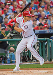 7 October 2016: Washington Nationals outfielder Trea Turner in action during the NLDS Game 1 against the Los Angeles Dodgers at Nationals Park in Washington, DC. The Dodgers edged out the Nationals 4-3 to take the opening game of their best-of-five series. Mandatory Credit: Ed Wolfstein Photo *** RAW (NEF) Image File Available ***