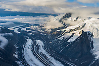 Aerial of Muldrow glacier winding out from Mount McKinley, North America's tallest peak.