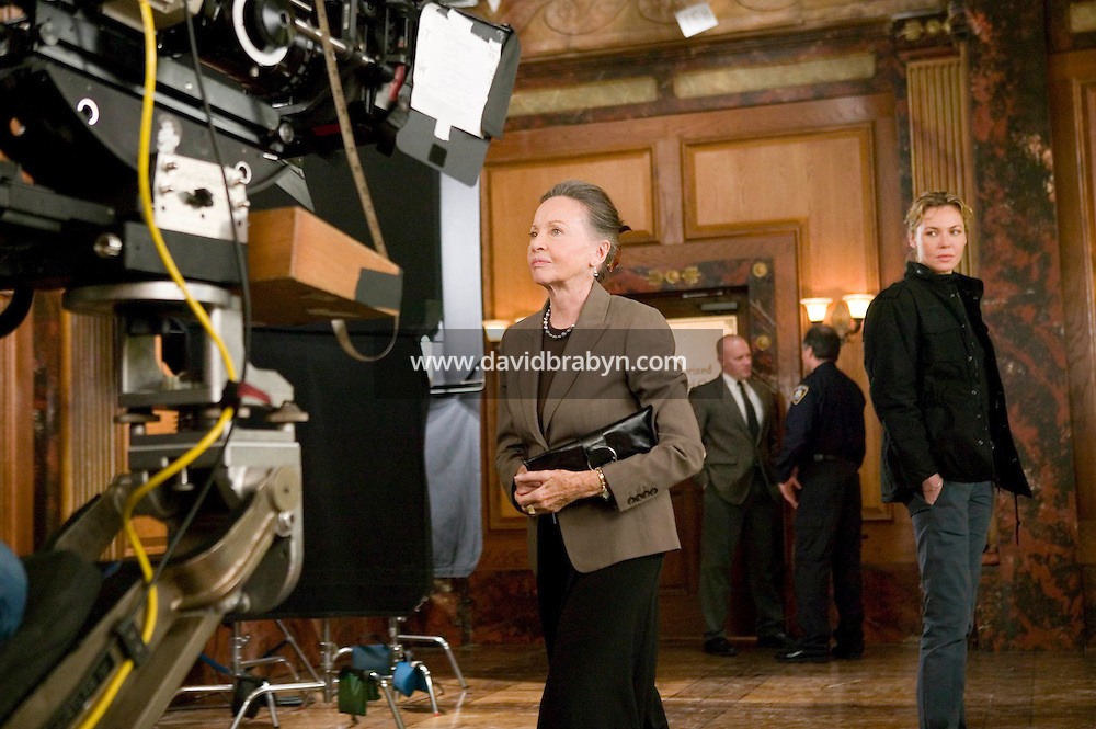 "8 May 2006 - North Bergen, NJ - French actress Leslie Caron (L) and Connie Nielsen (R) shoot a scene on the studio set of television show ""Law & Order: SVU"" in North Bergen, USA, 8 May 2006. In this rare appearance in front of American television cameras, Caron, 74, plays a French victim of past sexual molestation in an episode entitled ""Recall"" due to air in the fall. Caron starred in Hollywood classics such as ""An American in Paris"" (1951), ""Lili"" (1953), ""Gigi"" (1958). More recently she appeared in ""Chocolat"" (2000) and ""Le Divorce"" (2003). Photo Credit: David Brabyn"