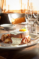 Croque Madame, brioche with Ham, truffled béchamel, gruyere these and sunny side up egg at The Barberry in McMinnville, Oregon