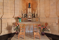 Altar in the Royal Chapel, on the second floor of the Phare de Cordouan or Cordouan Lighthouse, built 1584-1611 in Renaissance style by Louis de Foix, 1530-1604, French architect, located 7km at sea, near the mouth of the Gironde estuary, Aquitaine, France. This is the oldest lighthouse in France. There are 4 storeys, with keeper apartments and an entrance hall, King's apartments, chapel, secondary lantern and the lantern at the top at 68m. Parabolic lamps and lenses were added in the 18th and 19th centuries. The lighthouse is listed as a historic monument. Picture by Manuel Cohen