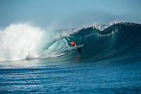 Namotu Island Resort, Nadi, Fiji (Wednesday, June 15 2016):  Mick Fanning (AUS) - The Fiji Pro, stop No. 5 of 11 on the 2016 WSL Championship Tour, was recommenced today at Cloudbreak with a new SSW swell in the 6' plus range. The contest had endured a long spell of layaways due to small conditions but it roared back to life with the new swell which is expected to continue for the rest of the waiting period.<br /> The hat of the day was between Taj Burrow (AUS) who has retired for the pro tour and John John Florence (HAW) who is being tipped as a World Champion this year.<br /> Both surfers were counting two 9 pt plus rides in their scores but it was Florence who scraped through finishing Burrows 18 year career on a high.<br /> Photo: joliphotos.com