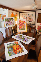 Watercolor paintings by Sally Robertson in her Bolinas, California studio