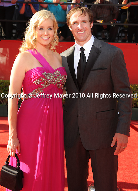 LOS ANGELES, CA. - July 14: NFL Player Drew Brees and wife Brittany Brees  arrive at the 2010 ESPY Awards at Nokia Theatre L.A. Live on July 14, 2010 in Los Angeles, California.