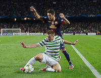 FUSSBALL   INTERNATIONAL   CHAMPIONS LEAGUE   2012/2013      FC Barcelona - Celtic FC Glasgow       23.10.2012 Jordi Alba (hinten, Barca) gegen James Forrestn (Celtic)