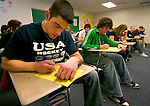 1/5/07 -- Omaha, NE<br />  -- USHL players Nick Petrecki does school work at MIllard North High School. <br /> <br /> Petrecki said that often their credits don't always transfer so they sometimes end up in  classes with many underclassman. <br /> Photo by Chris Machian, Prairie Pixel Group