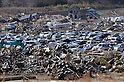 April 1st, 2011, Yamadamachi, Japan - Salvaged motor vehicles are rounded up at a temporary boneyard in Yamadamachi, Iwate Prefecture, on April 1, 2011, three weeks after this otherwise sleepy northeastern Japanese fishing vilalge was devastated by a magnitude 9.0 earthquake and ensuing tsunami. (Natsuki Sakai/AFLO) [3615] -mis-.