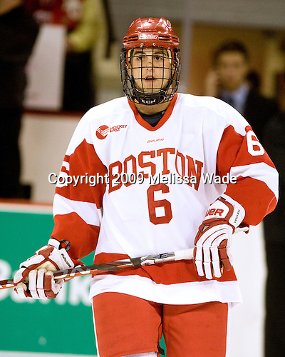 Joe Pereira (BU - 6) - The Boston University Terriers defeated USA Hockey's National Team Development Program's Under 18 team 3-2 on Saturday, October 10, 2009 at Agganis Arena in Boston, Massachusetts.