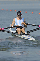 Brest, Belarus.  ARG BLM1X, Federico REGGIARDO  as the sart boot moves, at the start.  2010. FISA U23 Championships. Thursday,  22/07/2010.  [Mandatory Credit Peter Spurrier/ Intersport Images]