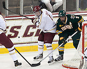 Teddy Doherty (BC - 4), Chris McCarthy (UVM - 3) - The Boston College Eagles defeated the University of Vermont Catamounts 4-1 on Friday, February 1, 2013, at Kelley Rink in Conte Forum in Chestnut Hill, Massachusetts.