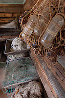 Details workshop and fishing items at Edisen Fishery at Isle Royale National Park.