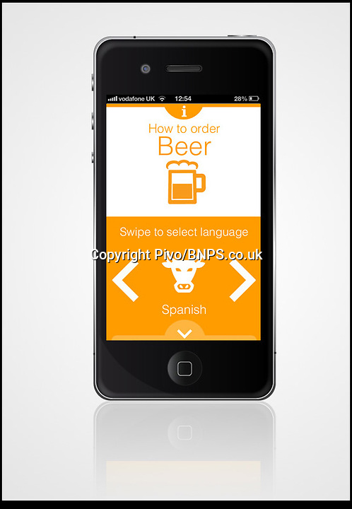 BNPS.co.uk (01202) 558833<br /> Picture: Pivo<br /> <br /> British holidaymakers can order a beer wherever they are in the world without pointing thanks to the world's first 'beer' translator app. The Pivo iPhone app translates the phrase 'one beer please' into 59 languages and even features videos showing correct pronunciation. Those travellers who prefer more obscure holiday destinations can learn how to order drinks in Tagalog, the second language of the Philippines, the Ghanain dialect Twi, Zulu from South Africa or Yiddish. The app, which can be downloaded from the App Store for 69p, is the brainchild of tourists Justin Amey and Ollie Hepworth from Bournemouth, Dorset, whose lack of language skills was exposed on an outing to a bar in Prague, Czech Republic.