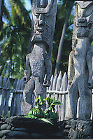 Ti leaf offerings placed at the feet of wooden statues of images of gods at Pu'uhonua O Honaunau, or Place of Refuge, Big Island.